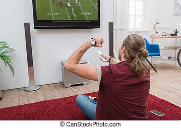 監視, フットボール, 背中, 元気づけること, 家, 人, マッチ, 光景