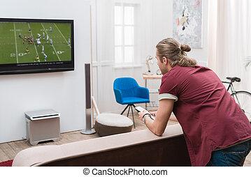 監視, フットボール, 背中, 家, 人, マッチ, 光景