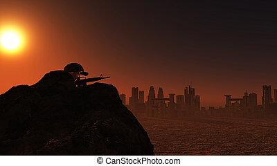 監視, 兵士, 日没, 都市の景観, 3d