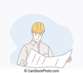 監視, 点検, 細部, サイト, 建設, 人