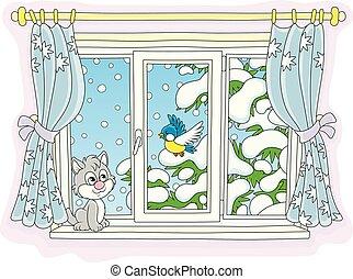 監視, 鳥, 小さい, わずかしか, 子ネコ