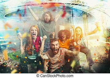 監視 tv, フットボール, 祝う, ファン, 勝利, サッカー, 友人, 幸せ