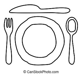 盤子, 刀, 勺, 以及, 叉子