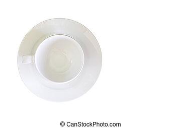 盤子, 剪, 頂部, 陶瓷, 玻璃, 背景, 白色, path., 看法
