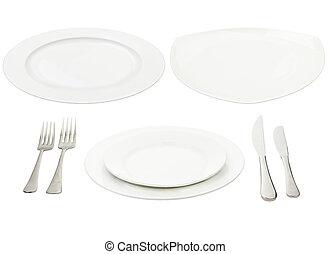 盤子, 叉子,  &,  high-gloss, 地方, 确定, 刀