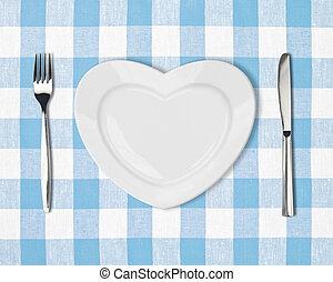 盤子, 在 形狀, ......的, 心
