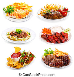 盤子, 小雞, 各種各樣, 肉