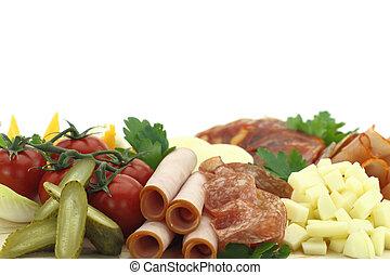盤子, 熟食, 肉, 乳酪