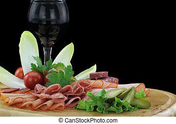 盤子, 熟食, 蔬菜, 肉