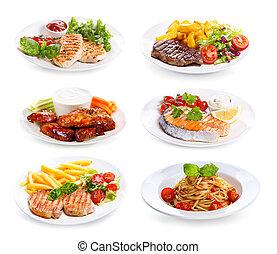 盤子, 肉, 各種各樣, 小雞, fish
