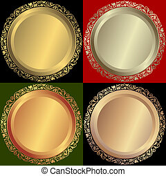 盤子, 黃金, 青銅, 銀色
