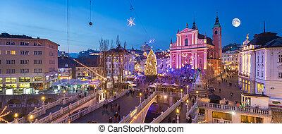 盧布爾雅那, 在, 圣誕節時間, slovenia.