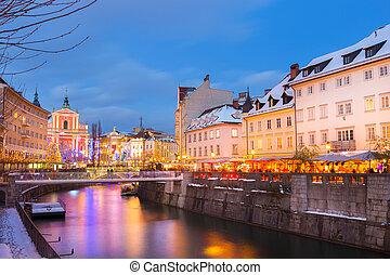 盧布爾雅那, 在, 聖誕節, time., 斯洛文尼亞, europe.