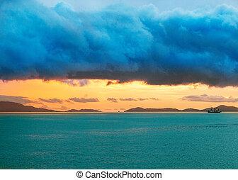目に見える, 日の出, 海, 地平線, 島