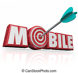 目標とすること, モビール, オンラインの広告, 矢, デジタル, 単語, ecommerce