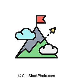 目標ライン, 平ら, ターゲット, ベクトル, 矢, 山, icon., 山, 色, 丘