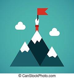目標, 成就, 矢量, 概念, 在, 套間, 風格