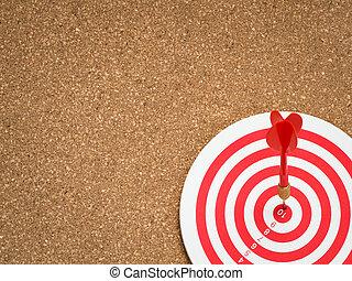目標, 矢, ゴール, ビジネス, 達成, dart., ダート盤, フォーカス, さっと動きなさい, ヒッティング, バックグラウンド。, 精選する, success/fail, 板, 中心点, ターゲット, 成功, コルク, concept., 赤, 中心