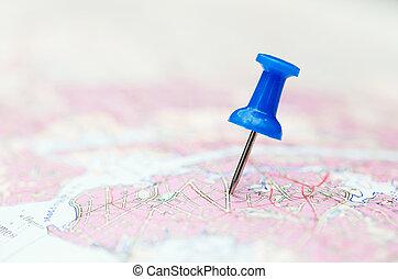 目的地, 青, 旅行, ピン, 地図