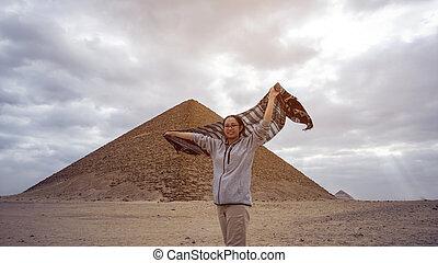 目的地, saqqara, 旅行, エジプト, ピラミッド, 赤, 建築, 観光客, 旅行, 夢, アジア人