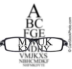 目, によって, 視力 テスト, 見られた, ガラス