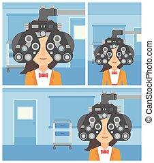 目, の間, 患者, examination.