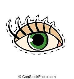 目, まつげ, イラスト, ベクトル, 緑, 長い間, 女性, 漫画