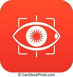 目, アイコン, デジタル, 赤