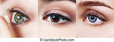 目, コラージュ, 別, 色, 女性, eyes.