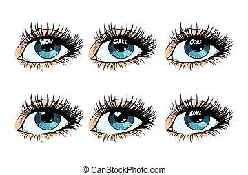 目, セット, まぶしい光, 生徒, 女性
