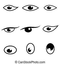 目, セット, アイコン