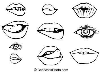目, セット, 唇, アイコン