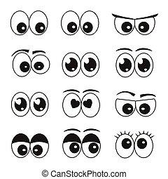 目, セット, 漫画