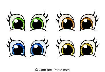 目, セット, 激しく打つ, 特徴, 隔離された, ベクトル, デザイン, 白, 漫画