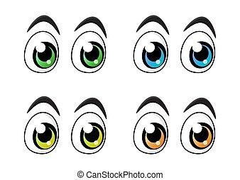 目, セット, 特徴, 隔離された, 背景, 白, 漫画