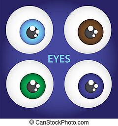 目, セット, eps10, 単純である, 色, ベクトル