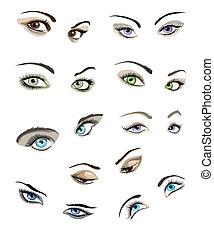 目, セット, woman's
