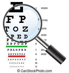 目 テスト, チャート, 使用, によって, 医者, そして, loupe., ベクトル, illustration.