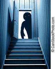目, ドア, 開いた, 気味悪い, 白熱, モンスター