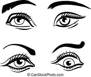 目, ベクトル, セット, イラスト
