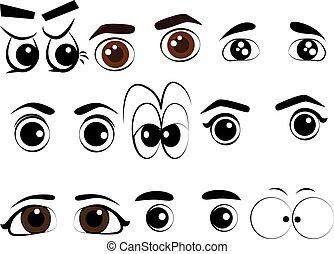 目, ベクトル, セット, 漫画, コレクション