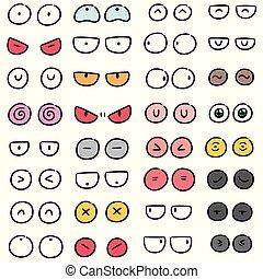 目, ベクトル, セット, 漫画