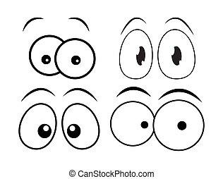 目, ベクトル, セット, 隔離された, 漫画, 本, デザイン, 白, 漫画