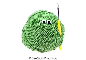 目, ホック, 隔離された, かせ, 白, 羊毛, かぎ針で編み物をしなさい