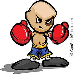 目, ボクシング, イラスト, ベクトル, 手袋, 堅い, 子供, 漫画, 黒