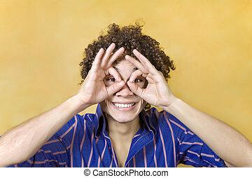 目, 上に, 人, 微笑, 手