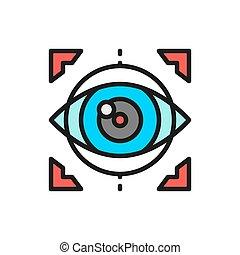 目, 取り換え, 手術, icon., 色, レーザー, ビジョン, レンズ, 訂正, 線, 平ら