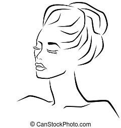 目, 女性, 抽象的な額面, 閉じられた, sensual
