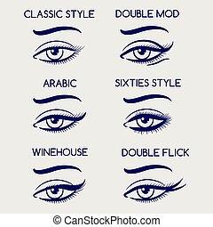 目, 女, スケッチ, 構造, ペン