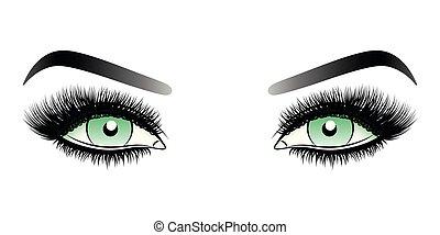 目, 女, 虚偽である, 激しく打つ, 長い間, 緑, eyebrows.